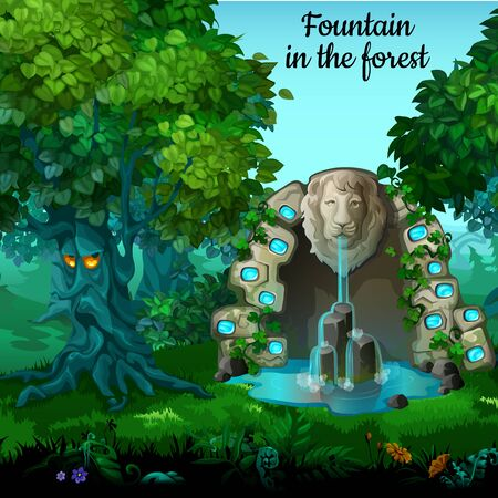 waterfall in forest: Mystic garden, fountain with lion head