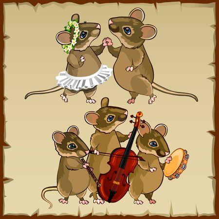 baile caricatura: Conjunto de ratones baile lindo y músicos Vectores