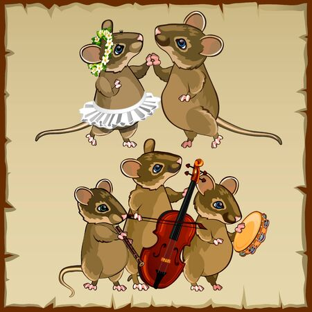 Set of cute dancing mice and musicians