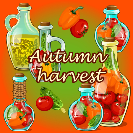 pickled: Canned vegetable in the fall, autumn harvest