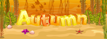 sea grass: Autumn banner with three-dimensional letters and underwater landscape Illustration