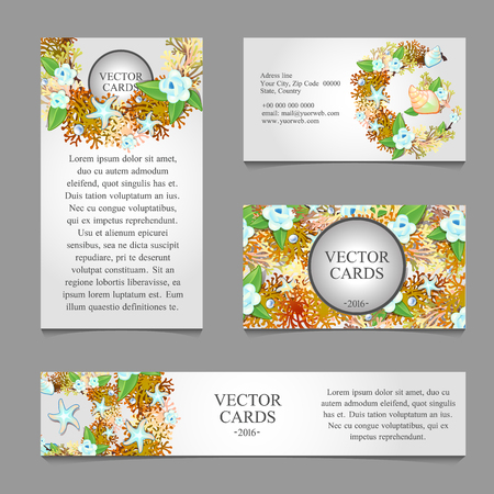 nacre: Four cards with the texture of sea animals and sample text