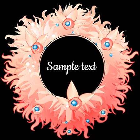 duvet: Round frame with pink feathers with text Illustration