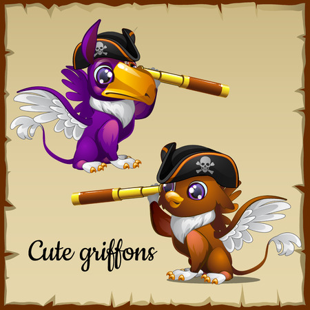griffon: Two Griffon pirates looking through the telescope, parchment background