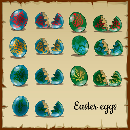 thin shell: Set of whole and broken Easter eggs, blue and green colors