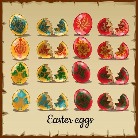 broken eggs: Set of solid and broken Easter eggs Illustration