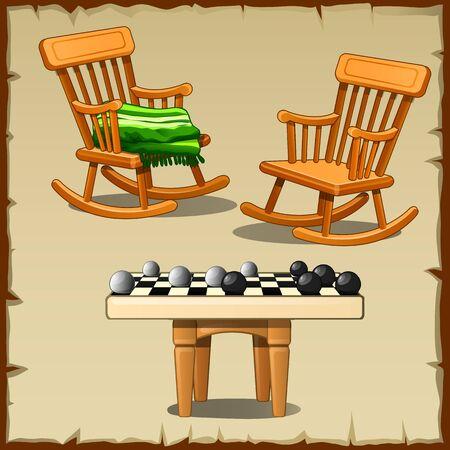 Set de deux chaises berçantes avec les pions sur les tabourets en bois Vecteurs