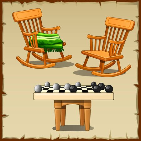 stools: Set of two rocking chairs with the checkers on the wooden stools