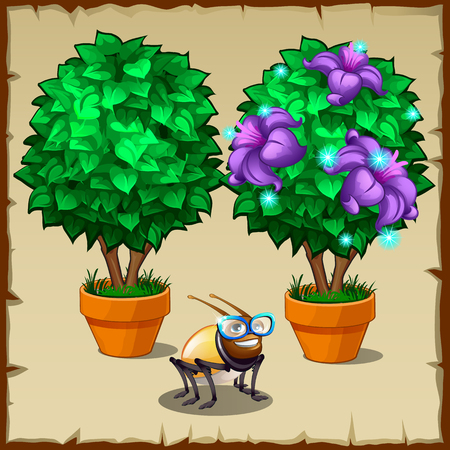 cartoon wood bucket: Two miniature potted trees and fun insect