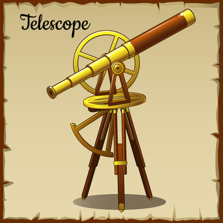 pointing up: Old telescope pointing up Illustration