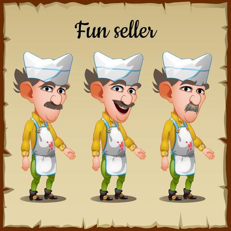 emo��es: Set of three emotions elderly man seller