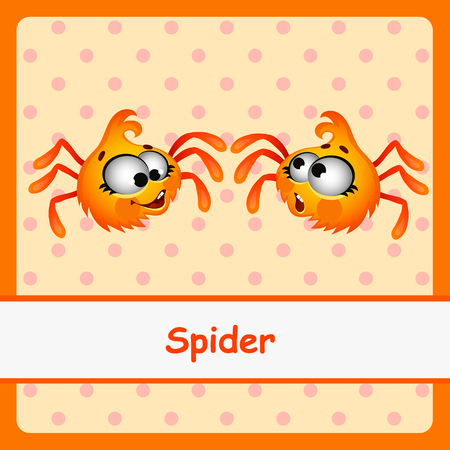gossamer: Spider, two funny characters on a orange background