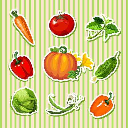 fruit and vegetable: Vegetables sticker: carrot, pumpkin, sweet pepper and other