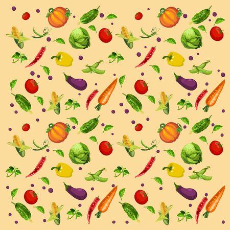 fruitage: Vegetables background, vector assorted Illustration