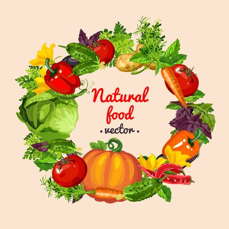 fruit and vegetable: Vegetable assorted, natural food vector
