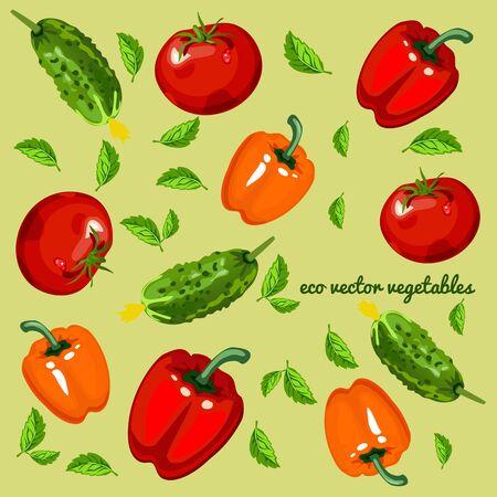 fruitage: Eco vegetables, mix on a green background Illustration