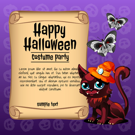Cat and butterfly with banner happy Halloween, invitation for Halloween Illustration
