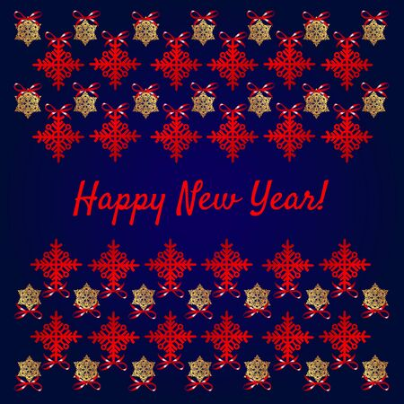 new year greeting: Happy new year greeting card, snowflakes on blue background Illustration