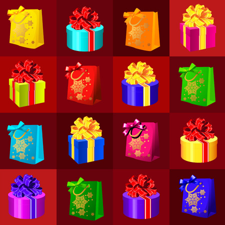 shopping bag icon: Set of different gift boxes and bags on a red background