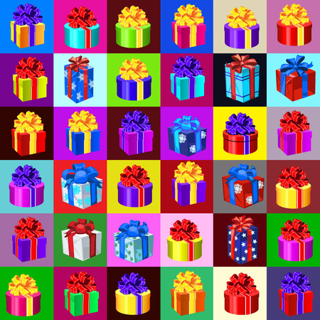 gift bags: Big set of gift boxes and bags on a different background Illustration