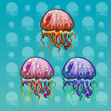 phosphorescence: Three color spotted jellyfish on a celadon background