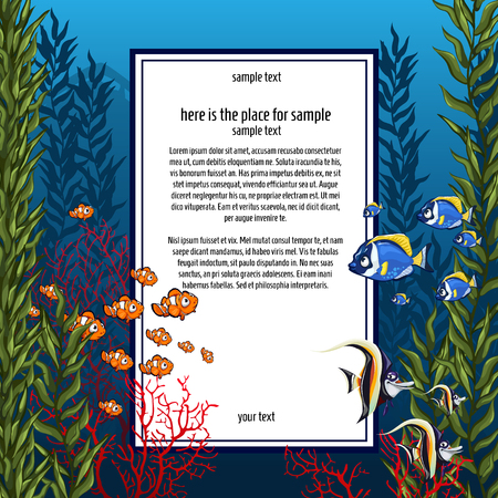 under water grass: The marine life in bright colors and vertical card Illustration