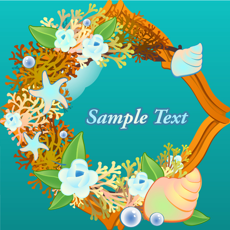 nacre: Decorative card with corals and flowers on a blue background Illustration