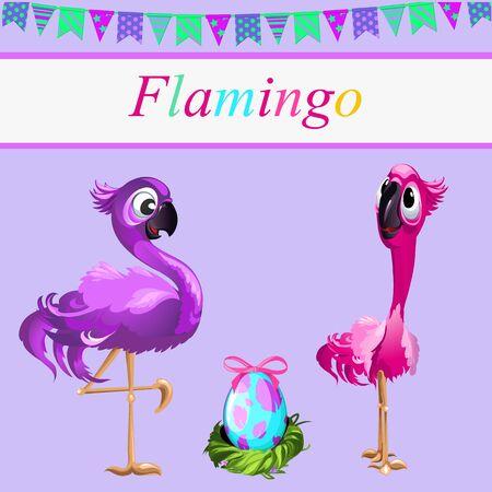 flamingi: Love flamingos, pair of flamingos and one egg