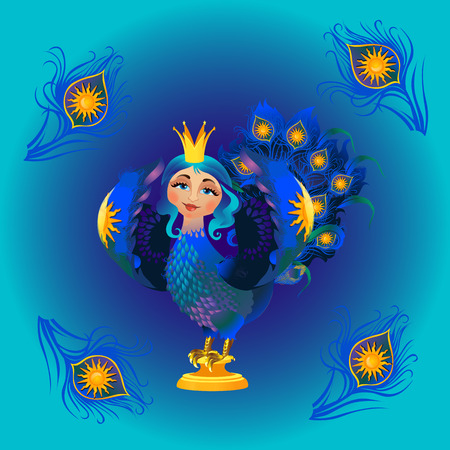 mythical phoenix bird: Image of the woman Firebird with ornament in o blue background