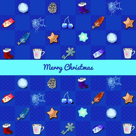 winter holiday: Winter holiday vector set on a blue background