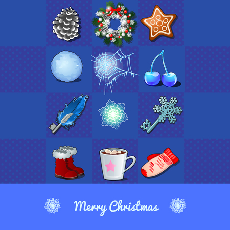 merry mood: Christmas set of objects, 12 icons on a blue chess background