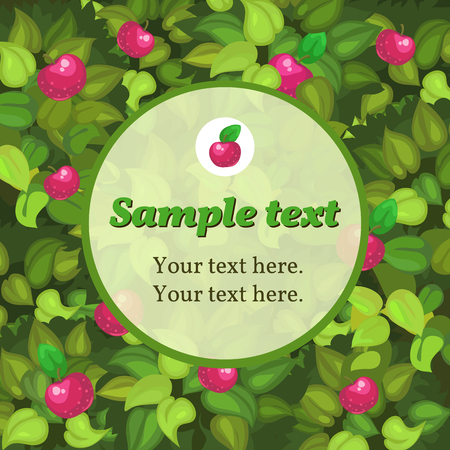 mildew: Autumn green card with apple and frame for text Illustration