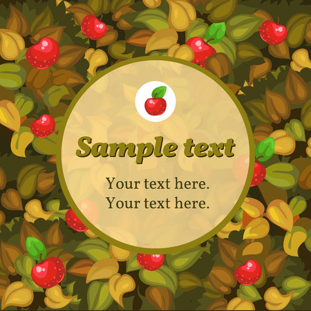 mildew: Autumn card with apple and round frame for text