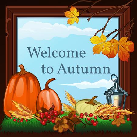 the welcome: Bienvenido a oto�o, la tarjeta con la naturaleza muerta de oto�o