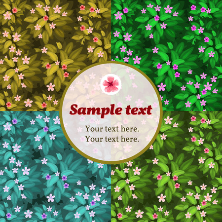 splash abstract: Four lilac flower card with round frame for text Illustration