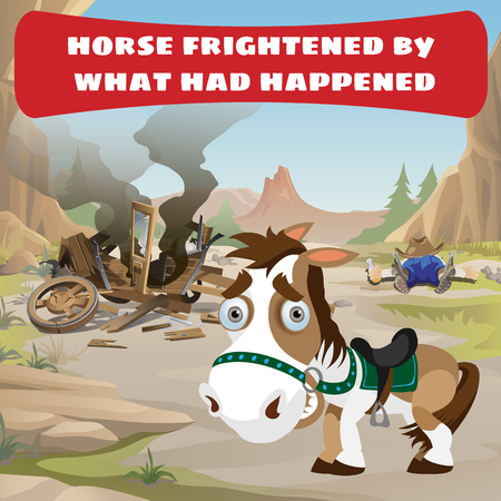 emergency cart: Accident on the wild west road and frightened horse