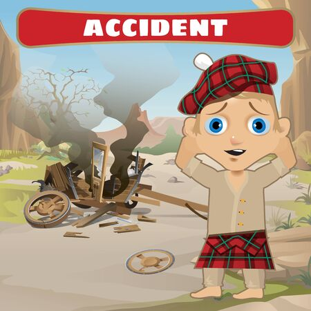 cart road: Accident on the road, broken cart and frightened compboy
