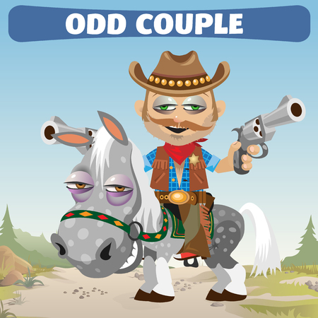 bandana western: odd couple in Wild West, Cowboy rider and horse Illustration