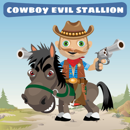 bandana western: Armed cowboy for an evil stallion, Wild West Illustration