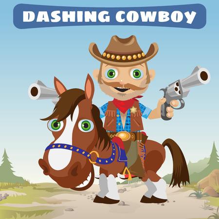 jaunty: Dashing Cowboy rider on a stallion on a Wild West landscape background Illustration