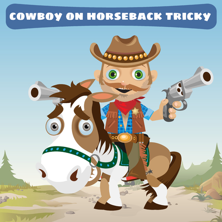 astute: Cowboy rider on horseback tricky on a Wild West landscape background Illustration