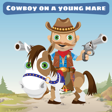 gunman: Cowboy rider on a young Bay Mare on a Wild West landscape background Illustration
