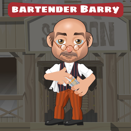 adventure story: Cartoon character in Wild West - bartender Barry in saloon