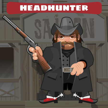 american stories: Cartoon character in Wild West - headhanter with rifle