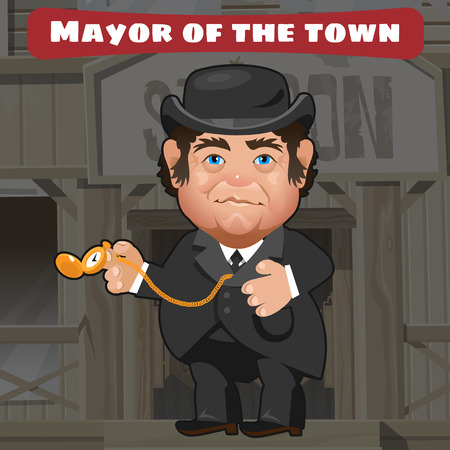 american stories: Cartoon character in Wild West - mayor in the town with gold wristwatch