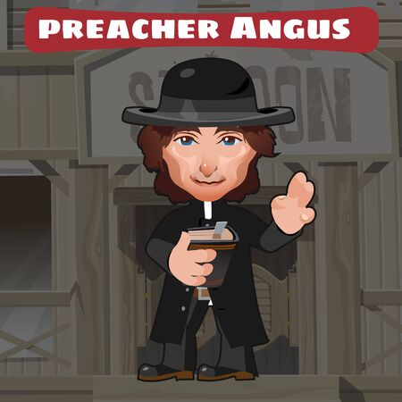american stories: Cartoon character in Wild West - preacher angus, stylish image
