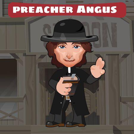 predicador: Personaje de dibujos animados en el Salvaje Oeste - angus predicador, imagen con estilo Vectores