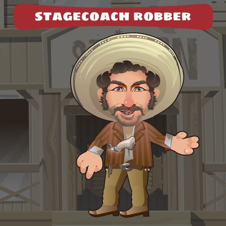 american stories: Cartoon character in Wild West on a Saloon background - stagecoach robber