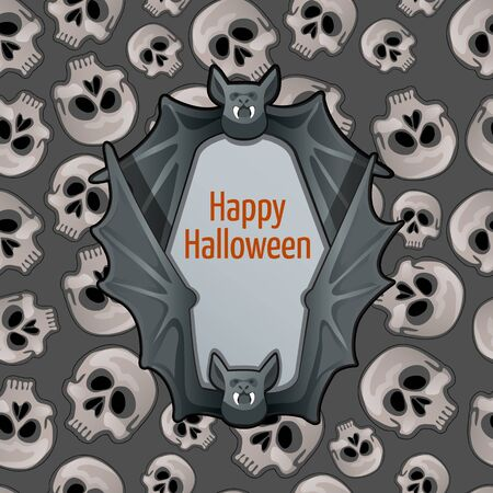 toothy: Halloween postcard with toothy bat and skulls Illustration