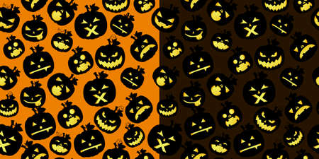 emotions faces: Double Halloween card with pumpkins on orange and black background Illustration